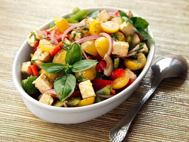 Mediterranean Chopped Salad with Tomatoes, Peppers, Feta, and Basil