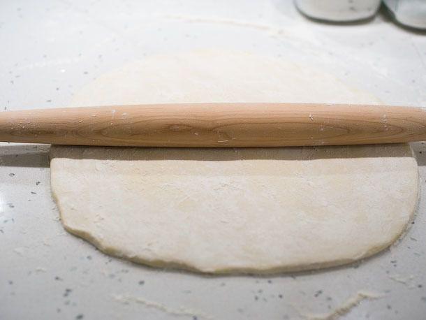 rolled out doughnut dough