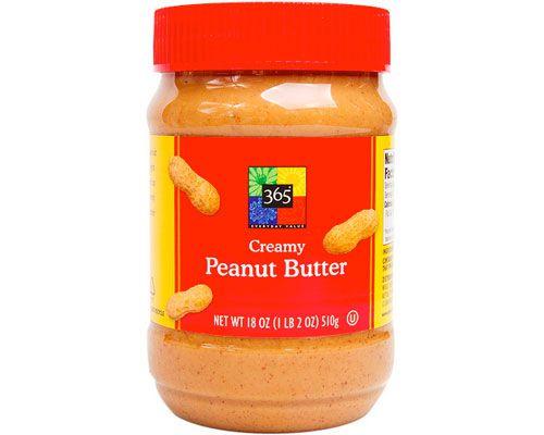 A jar of 365 creamy peanut butter.