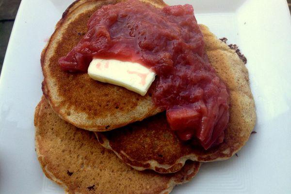 whole wheat pancakes with maple roast rhubarb