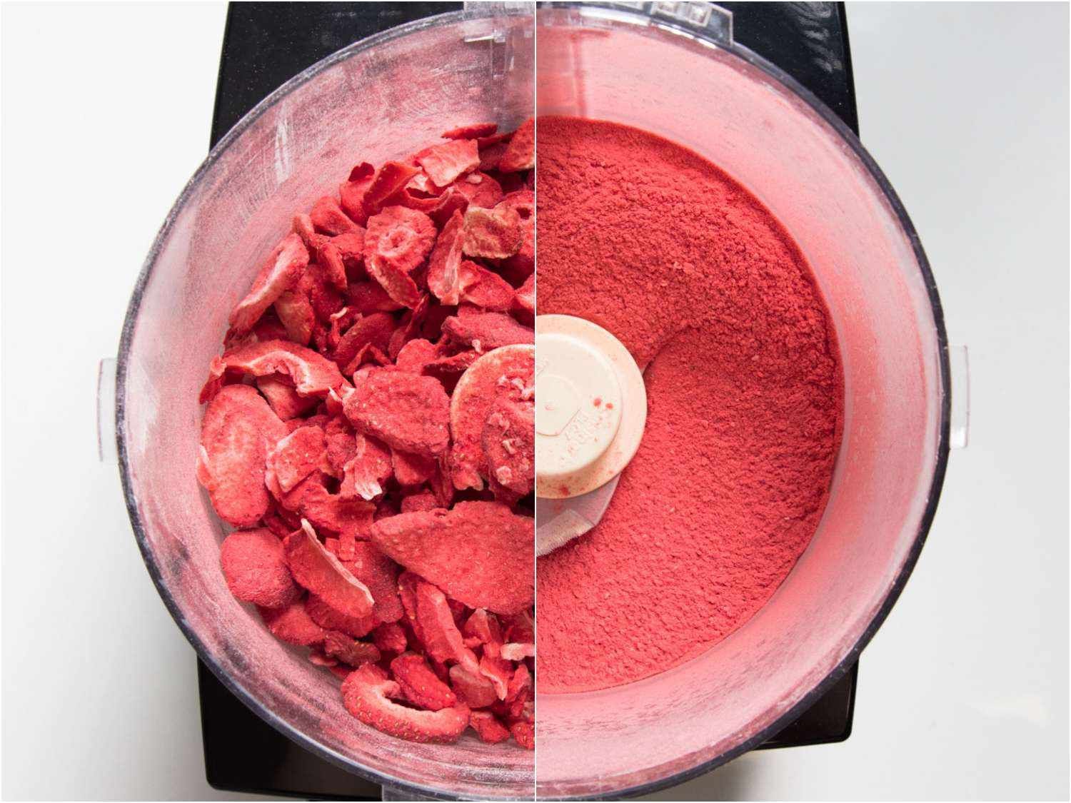 before and after grinding freeze dried strawberries