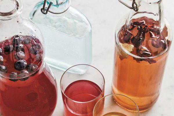 Blueberry Water Kefir, Coconut Water Kefir, Hibiscus-Ginger Water Kefir
