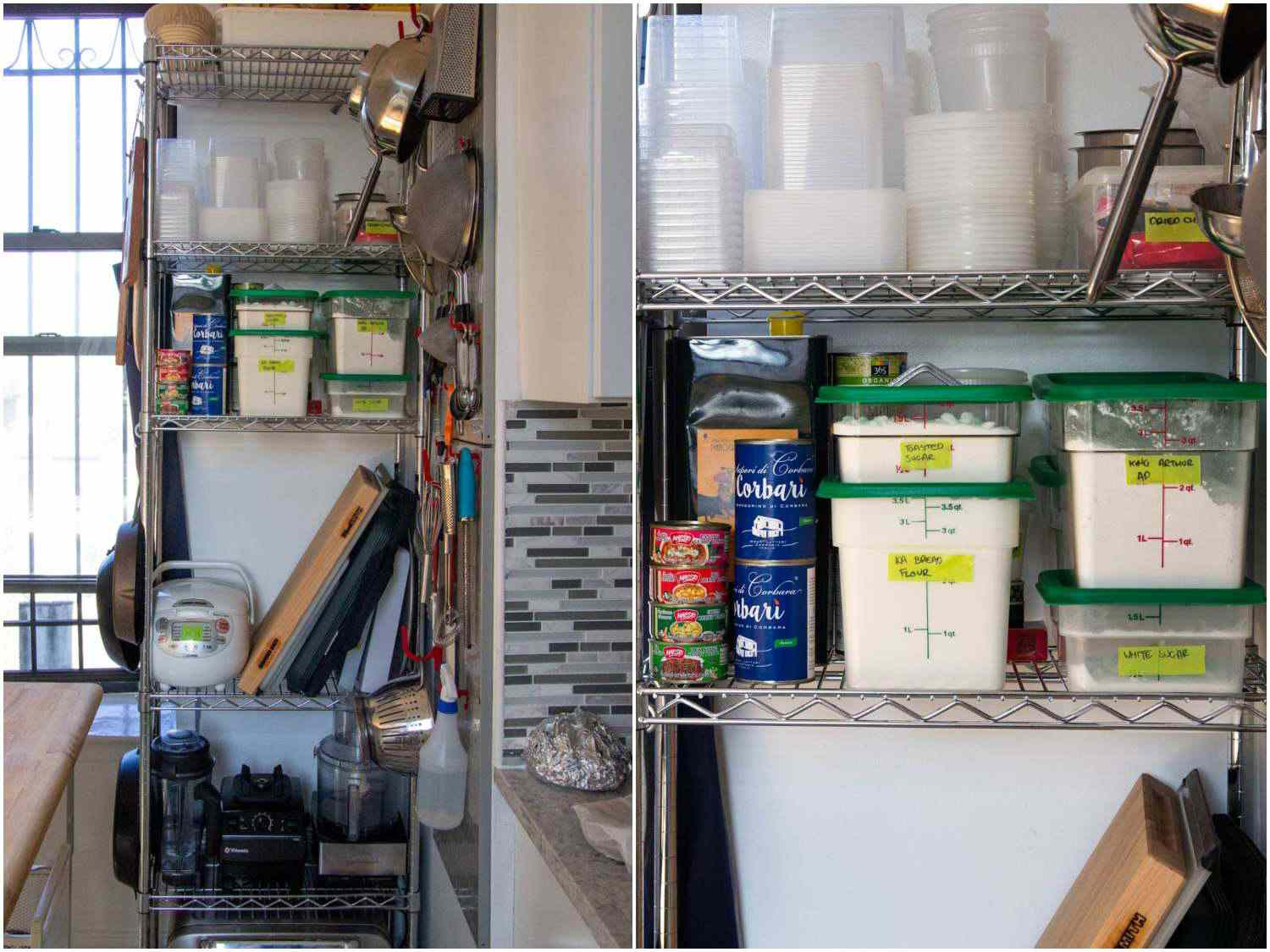 a photo collage of a small metro rack shelving unit in a tight space in a small New York City kitchen