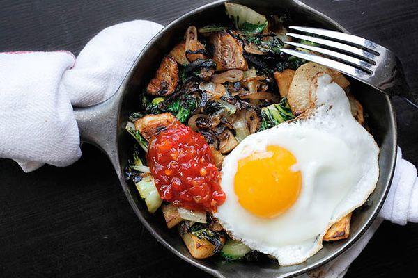 Spicy Potato, Bok Choy, and Shallot Hash