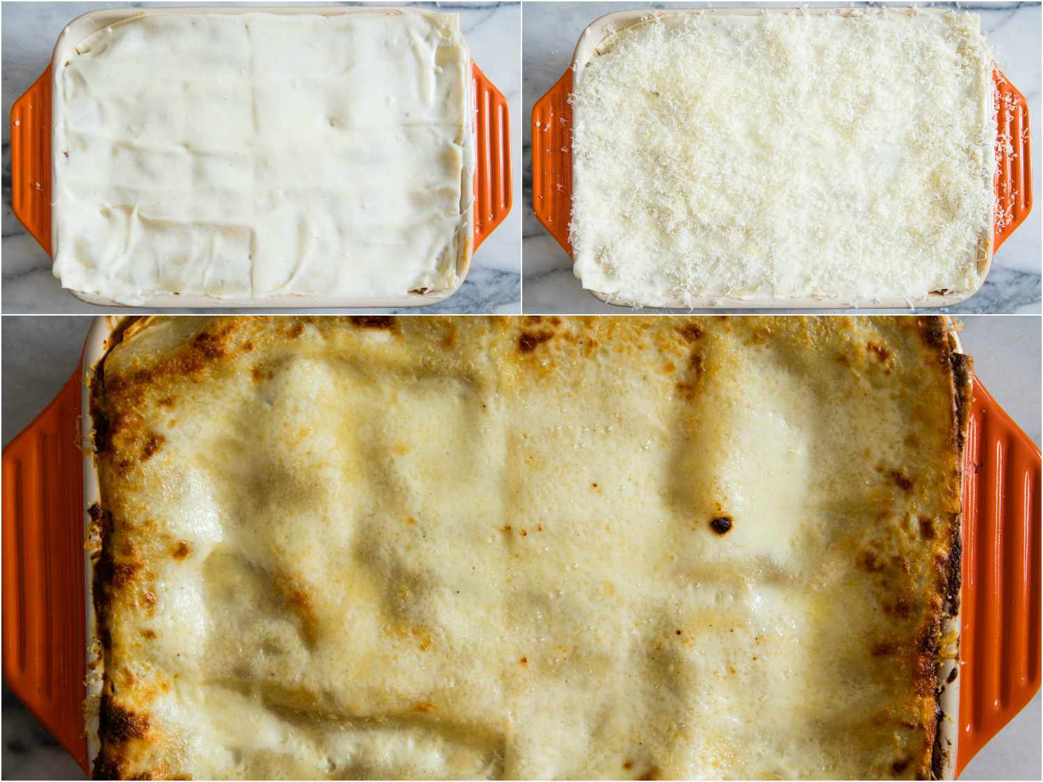 Photo collage of lasagna bolognese before and after baking.