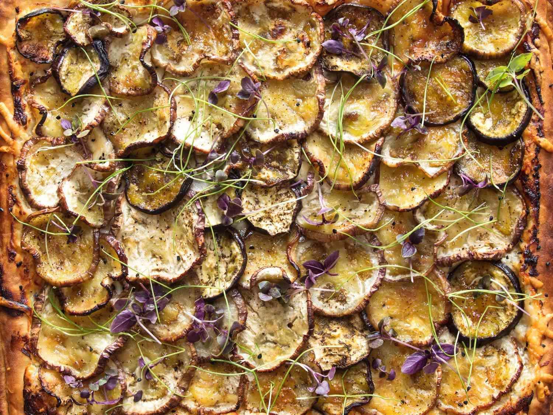 Overhead of finished eggplant tart