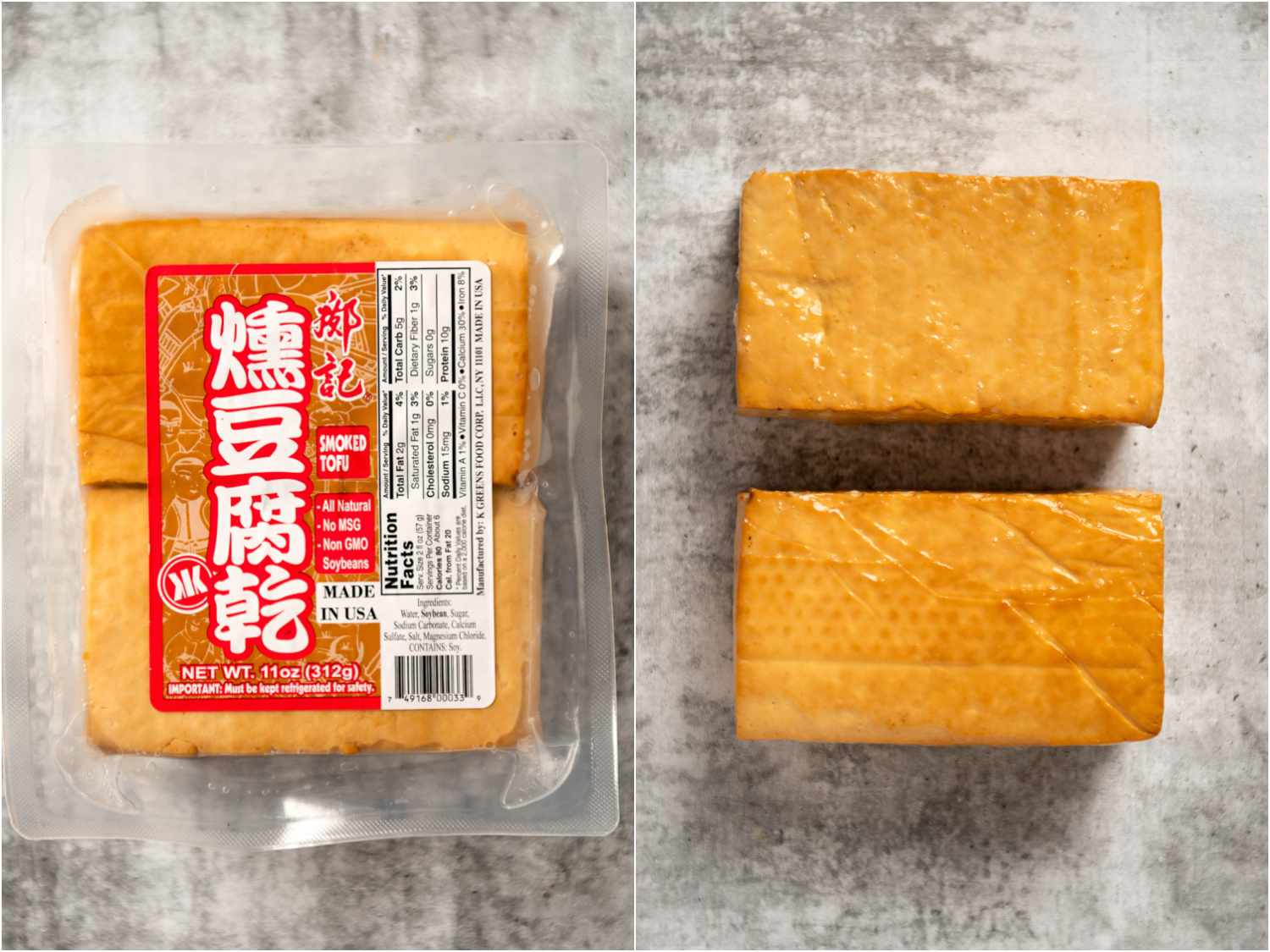 collage: smoked tofu in packaging; unpackaged