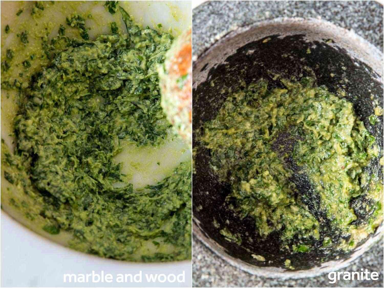 Making pesto in two large mortars and pestles