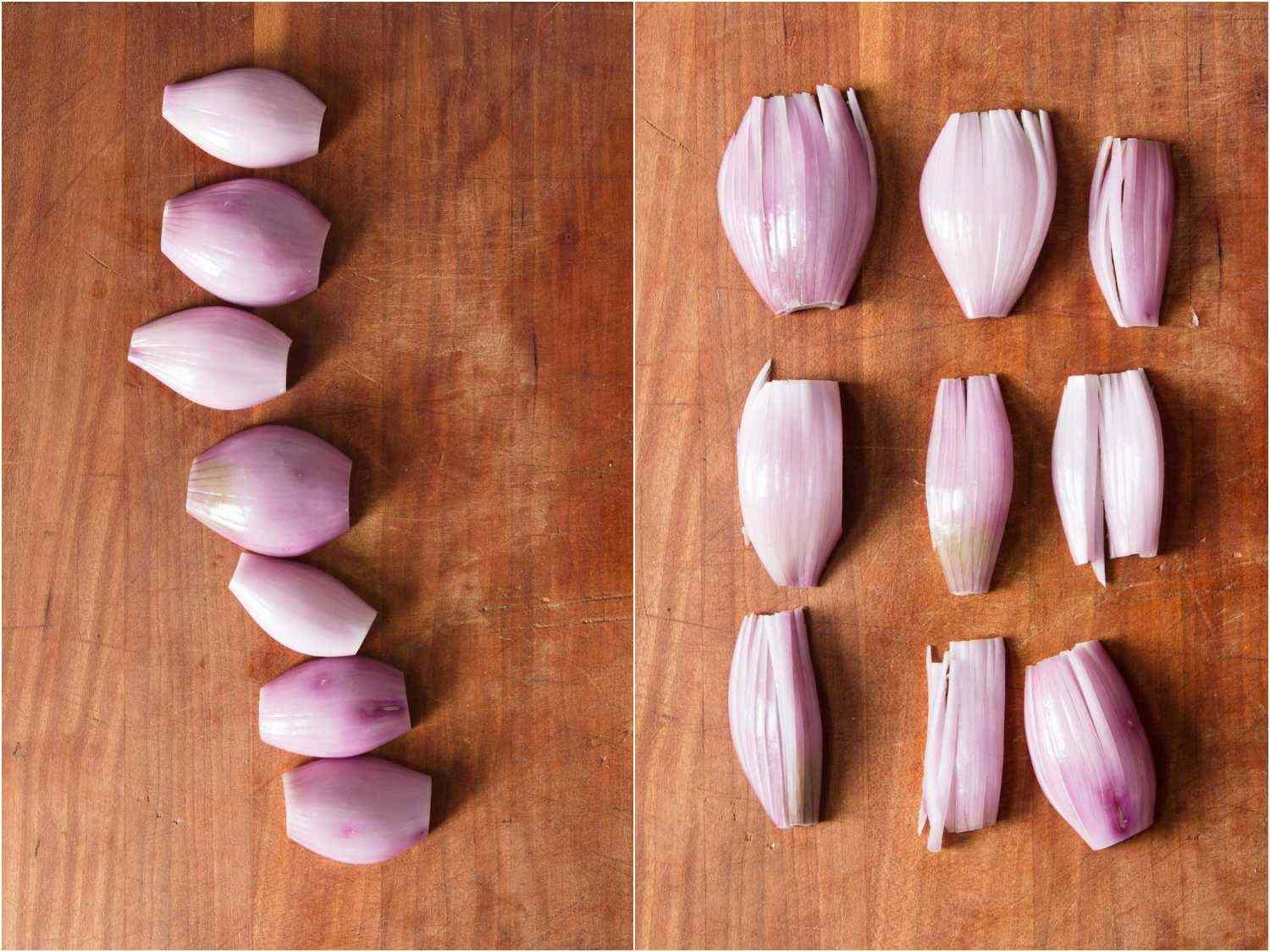 Shallot petals ready to be cut for mignonette