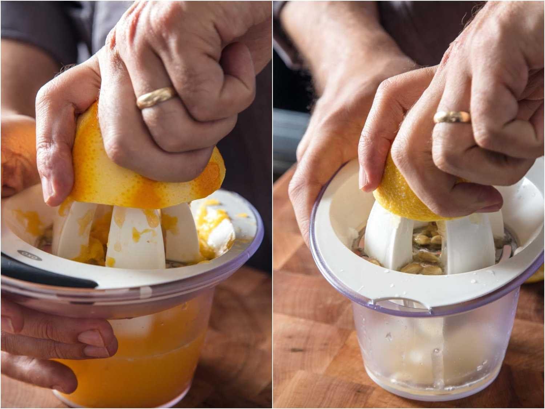 Juicing orange and lemon for Duck à l'Orange