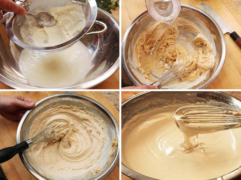 Photo collage showing process of making tahini sauce: straining garlic-lemon juice mixture, stirring in tahini paste, and whisking in water.
