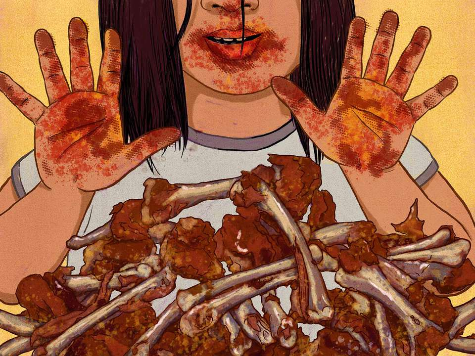 Illustration of a pile of gnawed-on chicken wings in front of a child's messy hands and face