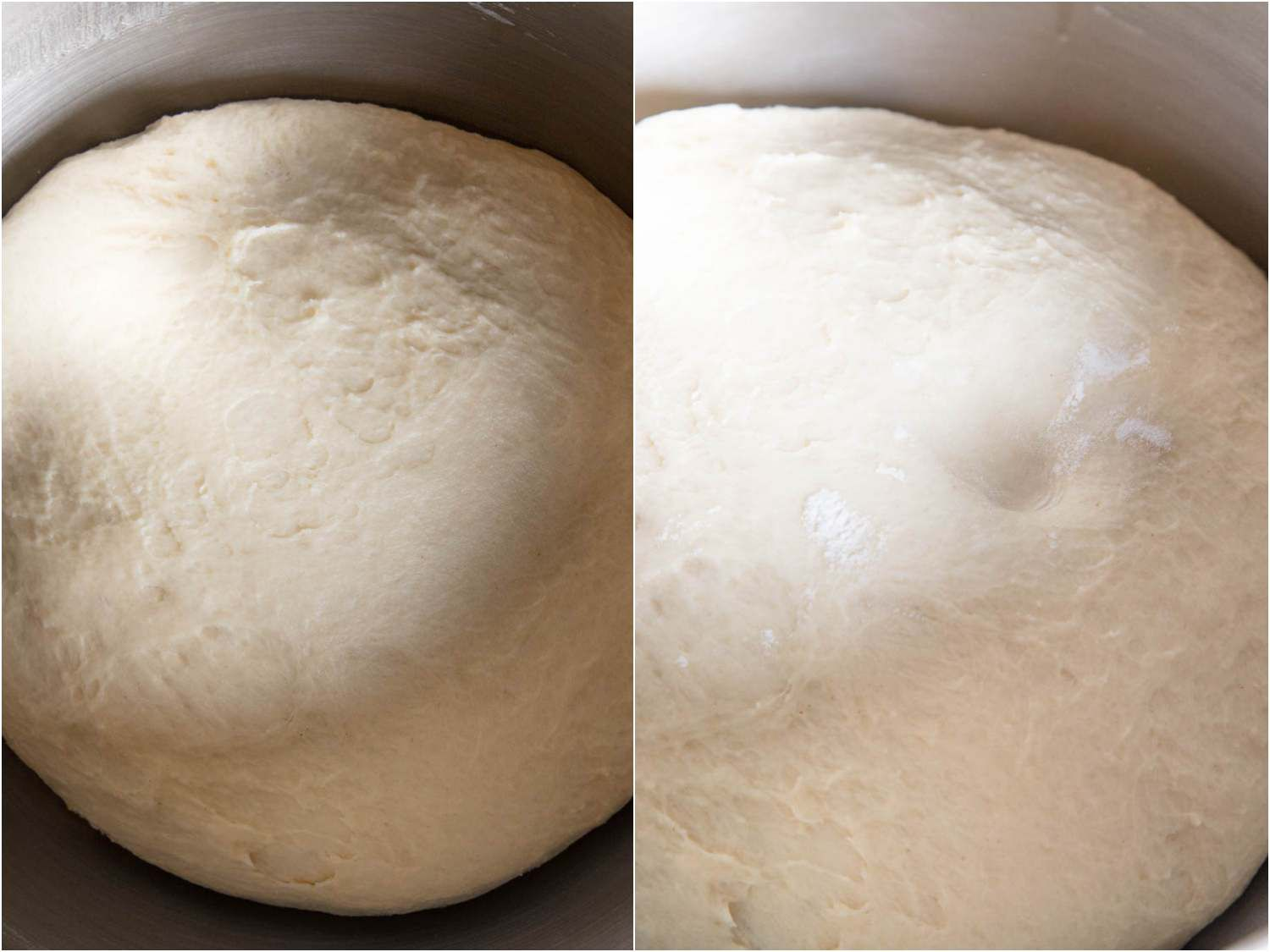 Photo collage showing unrisen cinnamon roll dough (left) and fully proofed cinnamon roll dough (right).