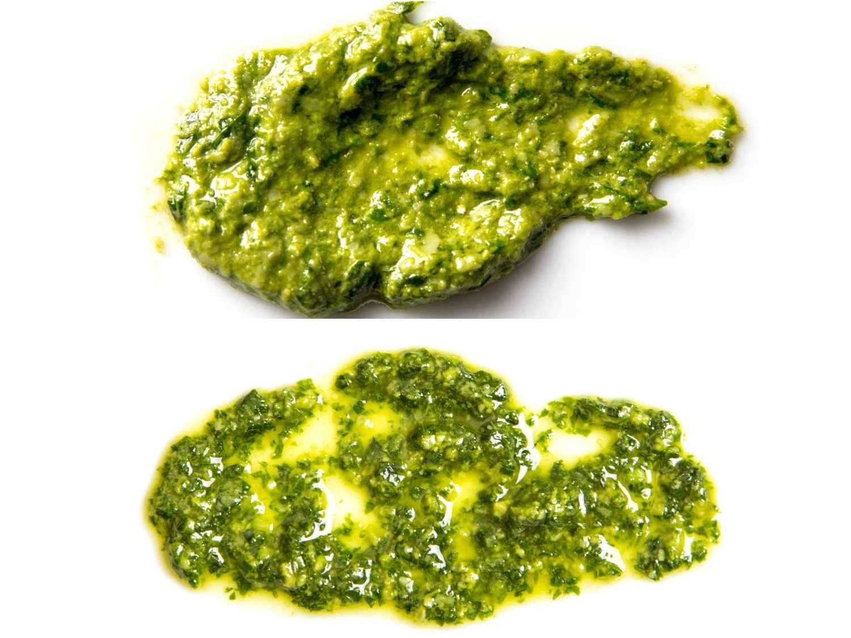 Comparison of pestos: Top, pesto made in mortar and pestle; bottom, pesto made in food processor