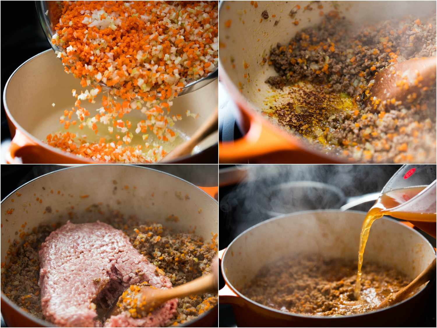 Photo collage of ragù bolognese being made.