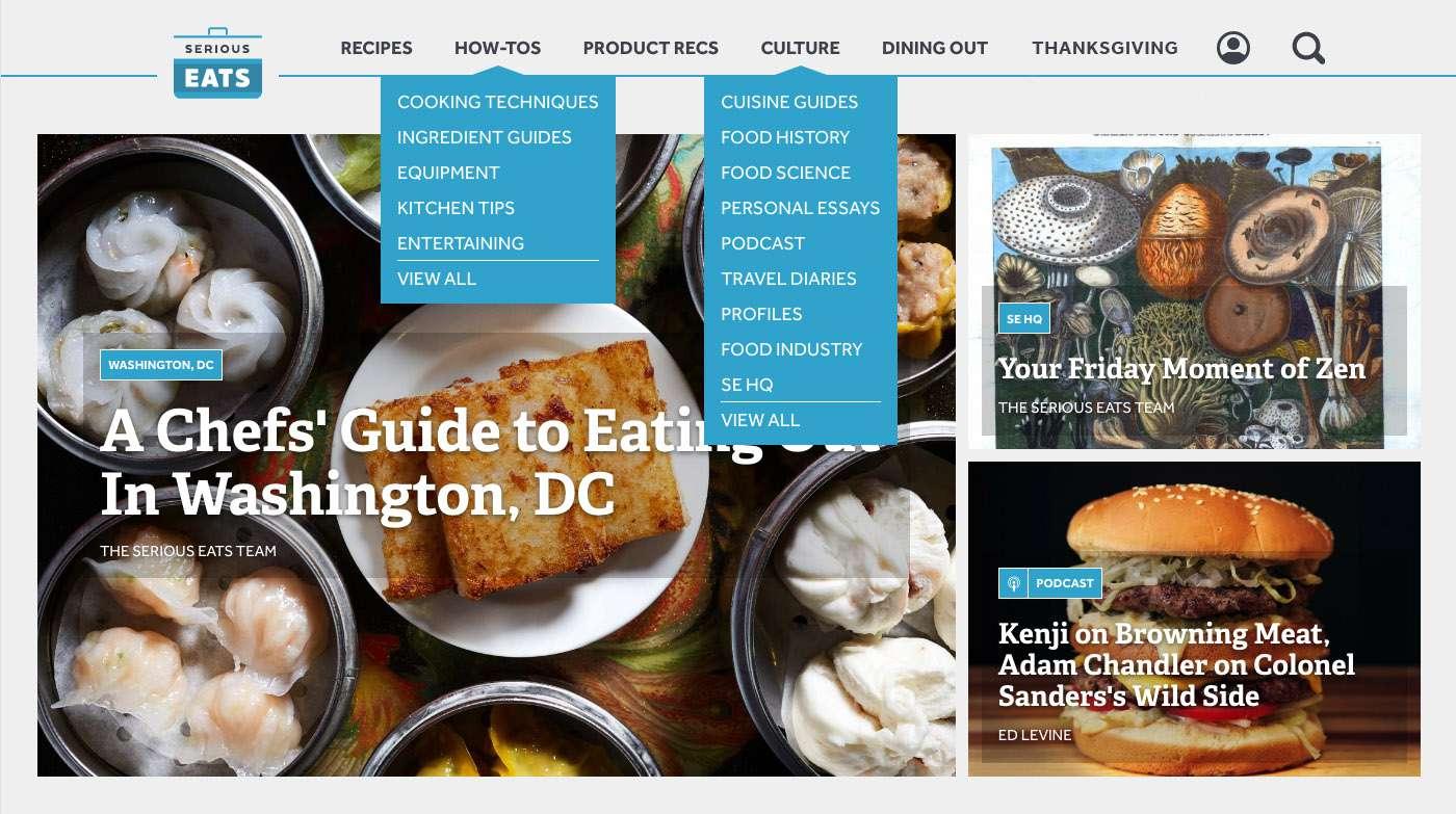 Screenshot of the updated Serious Eats navigation