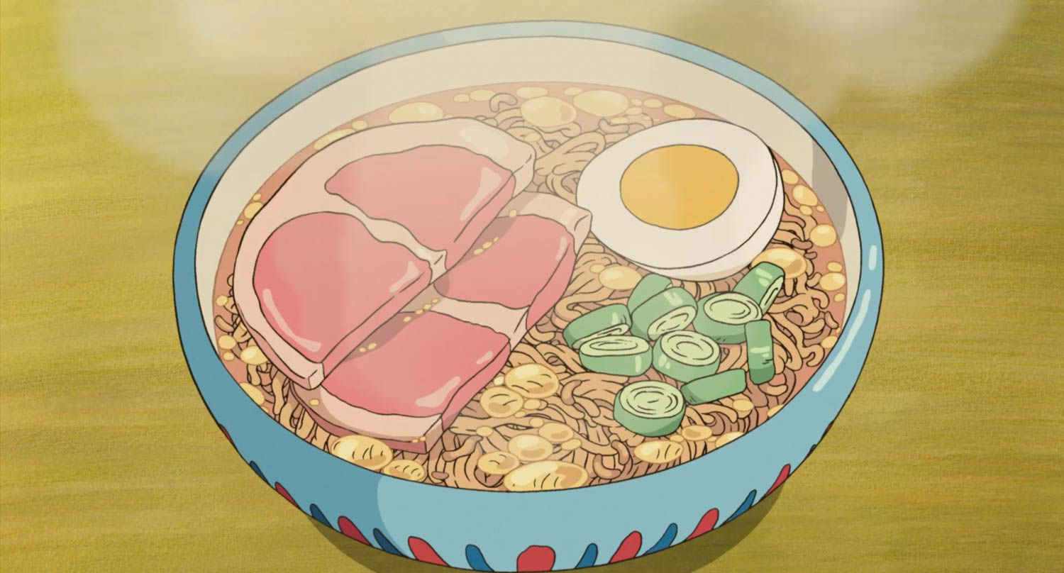 Bowl of instant ramen topped with half a boiled egg, ham, and scallions, from Studio Ghibli film Ponyo