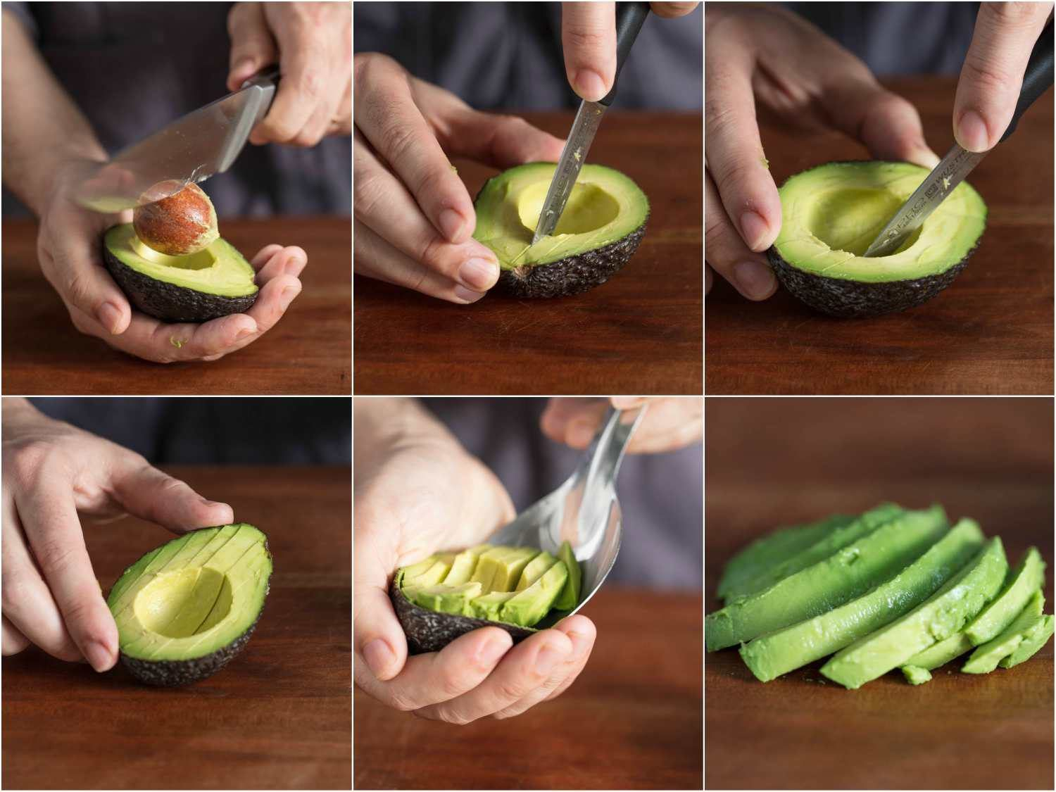 Collage of six photos: removing avocado pit, slicing avocado half, scooping out slices, a fanned-out display of avocado slices