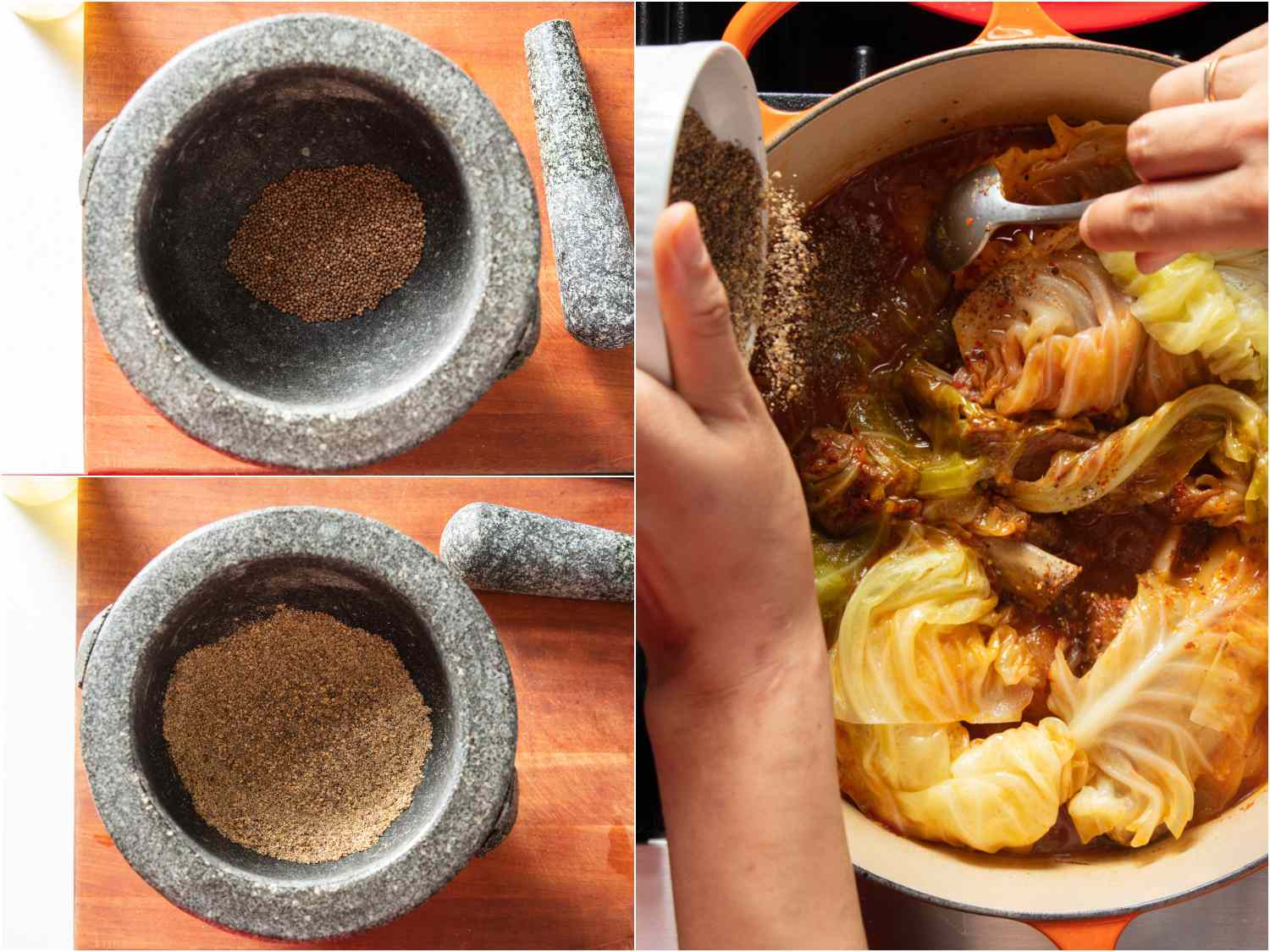 Crushing perilla seeds in a mortar and pestle and adding to stew.