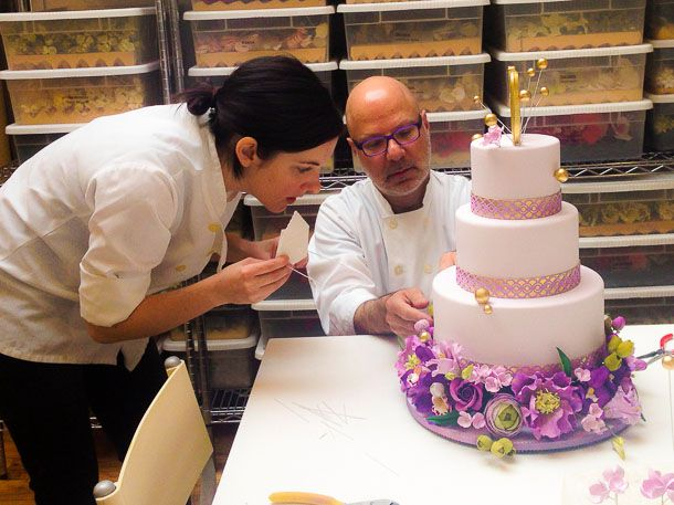 Ron Ben-Israel showing us how to decorate a cake with sugar flowers at RBI Cakes, New York