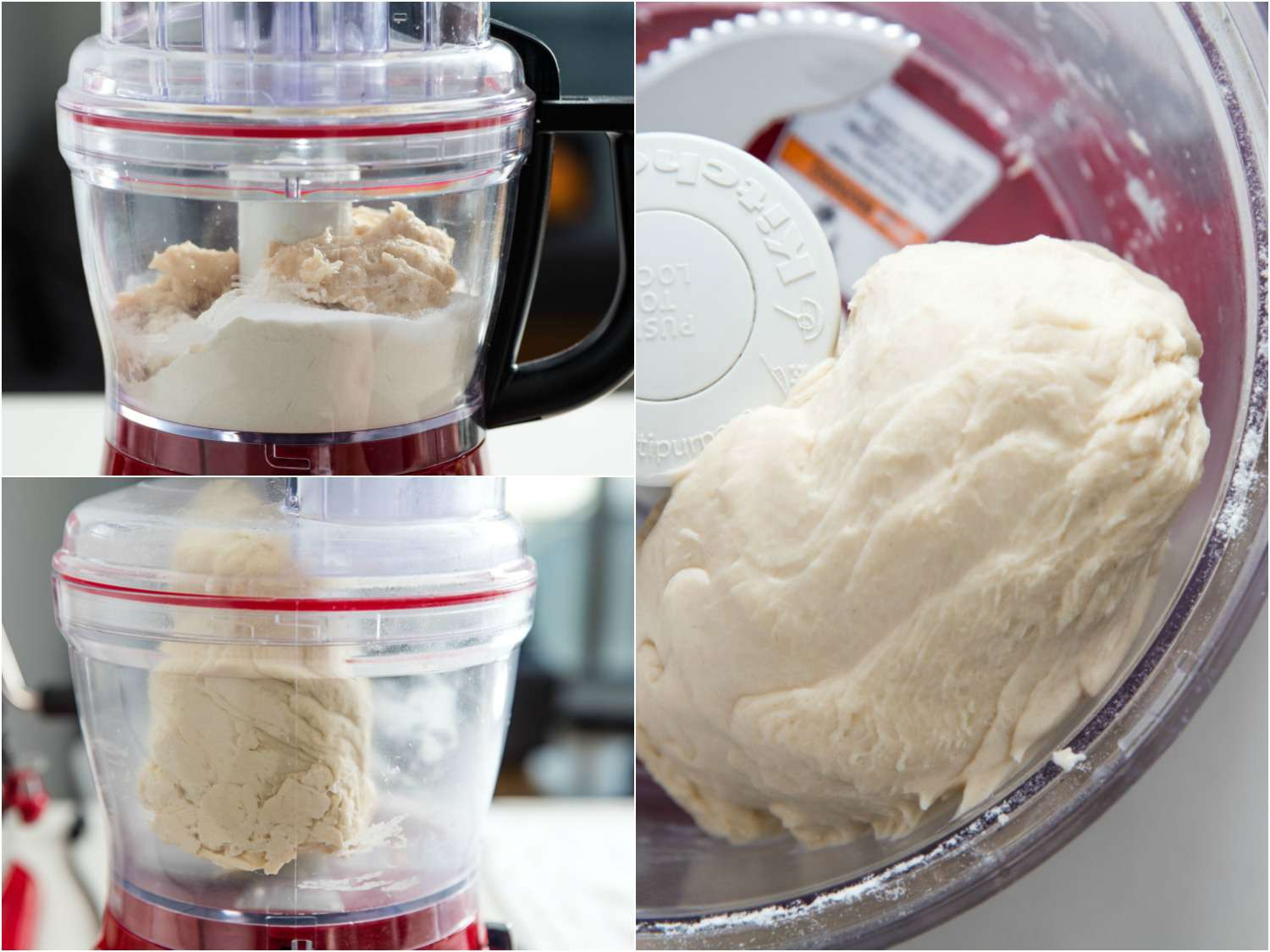 Photo collage showing processing bagel dough in a food processor until silky smooth.