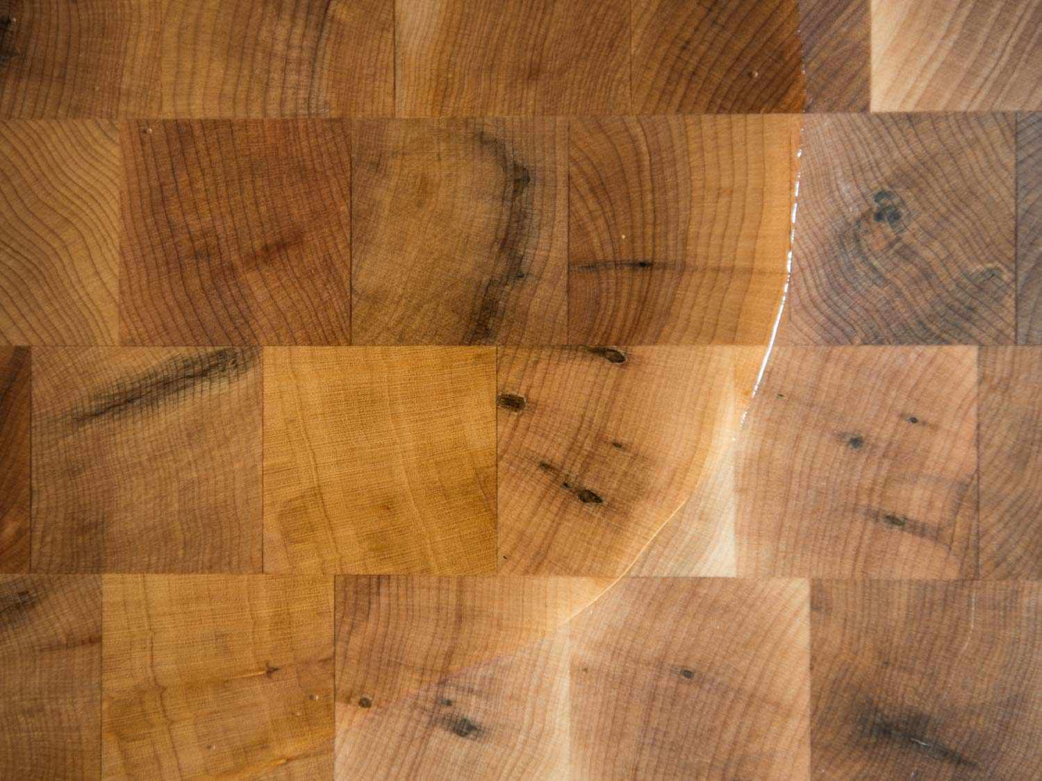 mineral oil covering a wood board