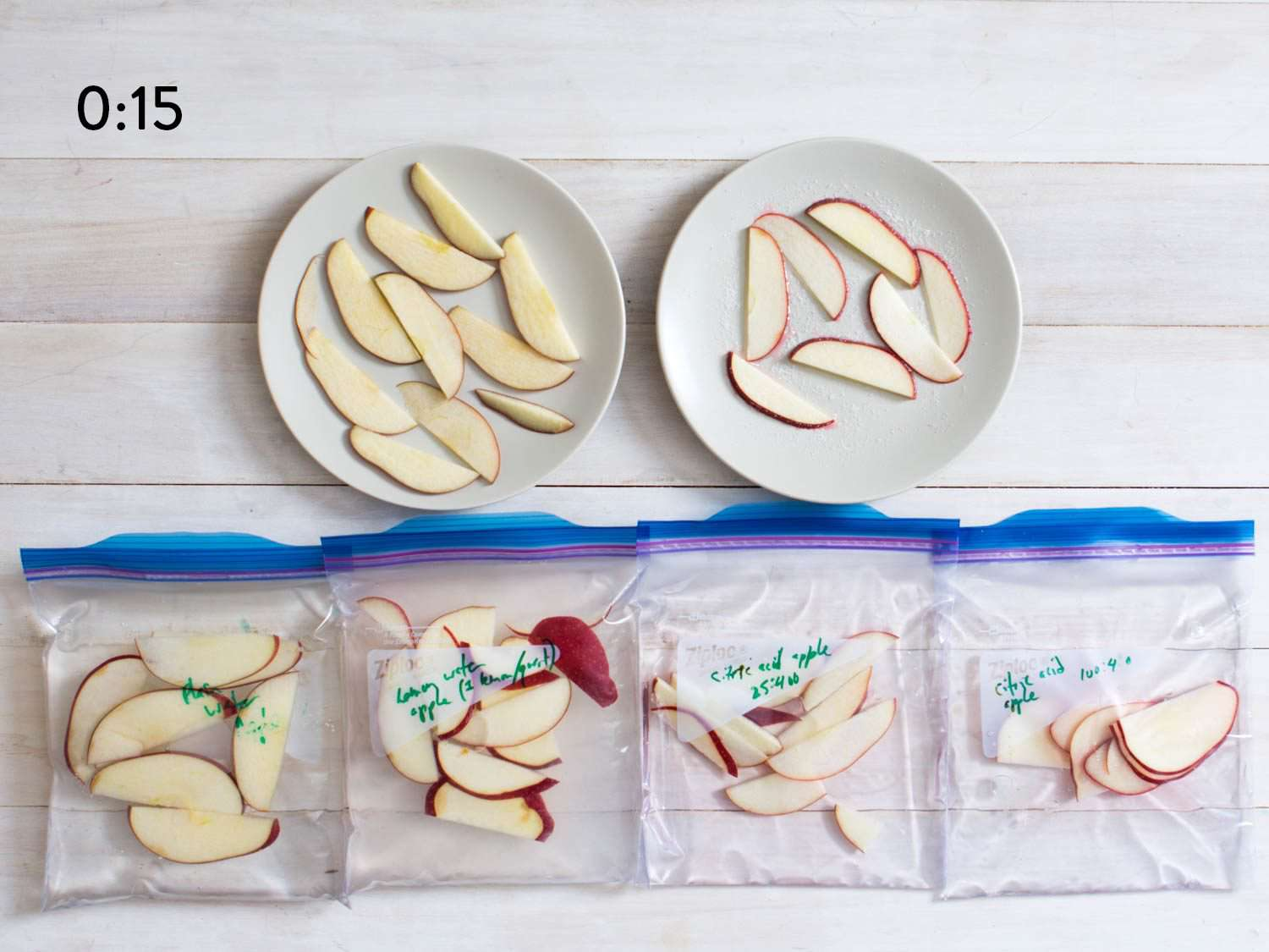 Comparison of bags of cut apples after 15 seconds.