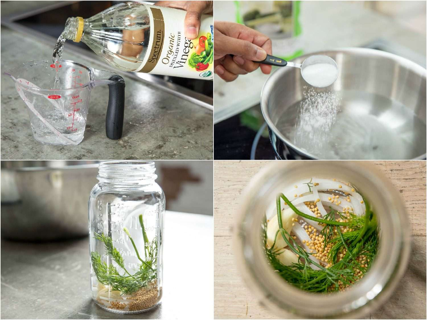 Collage of four photos depicting, clockwise from top left, distilled white vinegar being poured into measuring cup; salt being added to bowl of water from a tablespoon measure; overhead view into glass jar with vegetables and spices that will season the pickles at the bottom; side view of pickle jar with vegetables and spices at the bottom