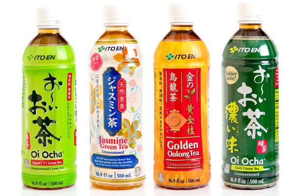Four assorted bottles of Japanese iced tea.