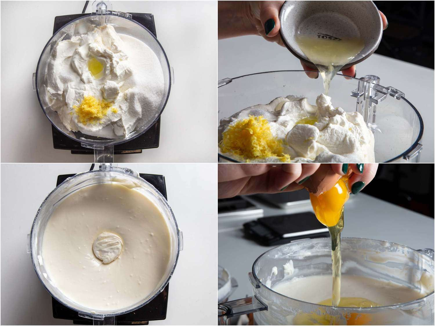 Preparing the cheesecake batter in a food processor