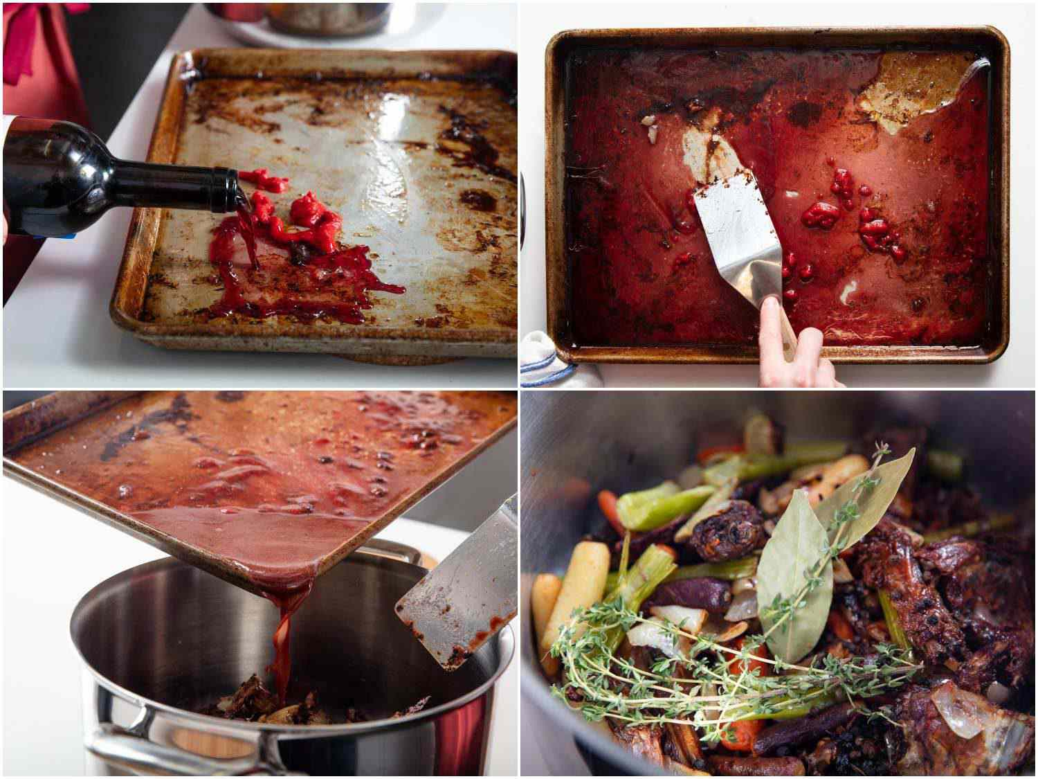Photo collage of deglazing baking sheet used to roast duck bones and vegetables for duck stock with red wine and tomato paste.