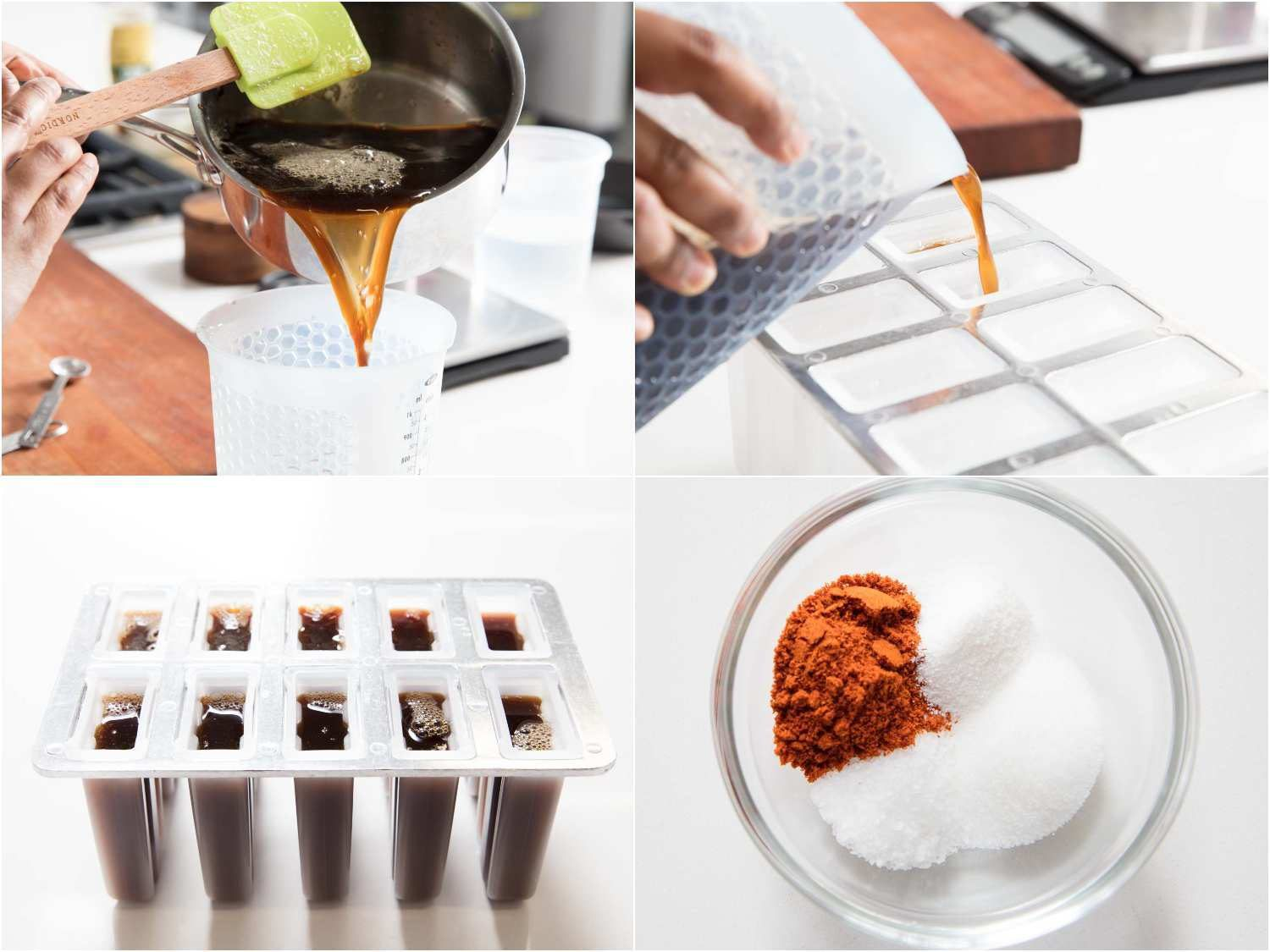 adding ice to popsicle base and filling molds