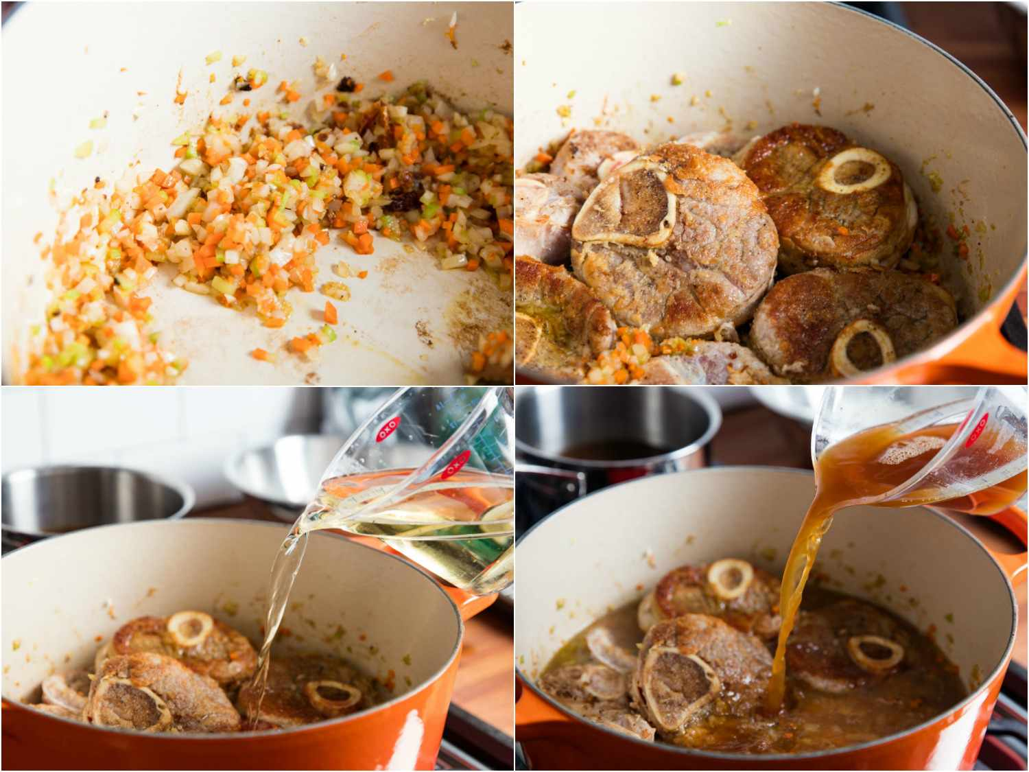 Photo collage showing sauteing aromatics and adding browned veal shanks and cooking liquid to Dutch oven for osso buco.