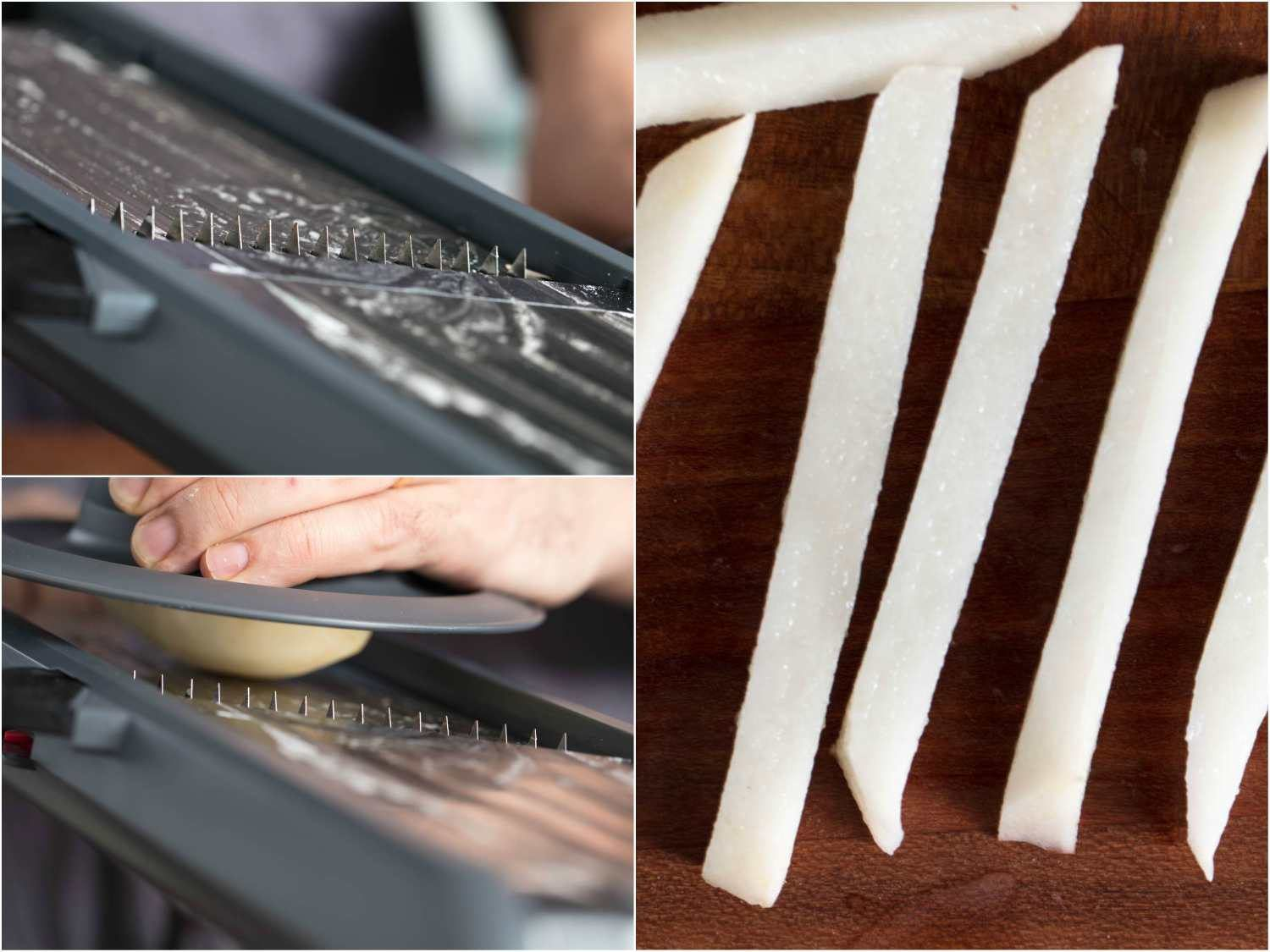 Process photos of cutting potato sticks for French fries using a fully equipped slicer: cutting even sticks on slicer using cross-cutting teeth, finished sticks