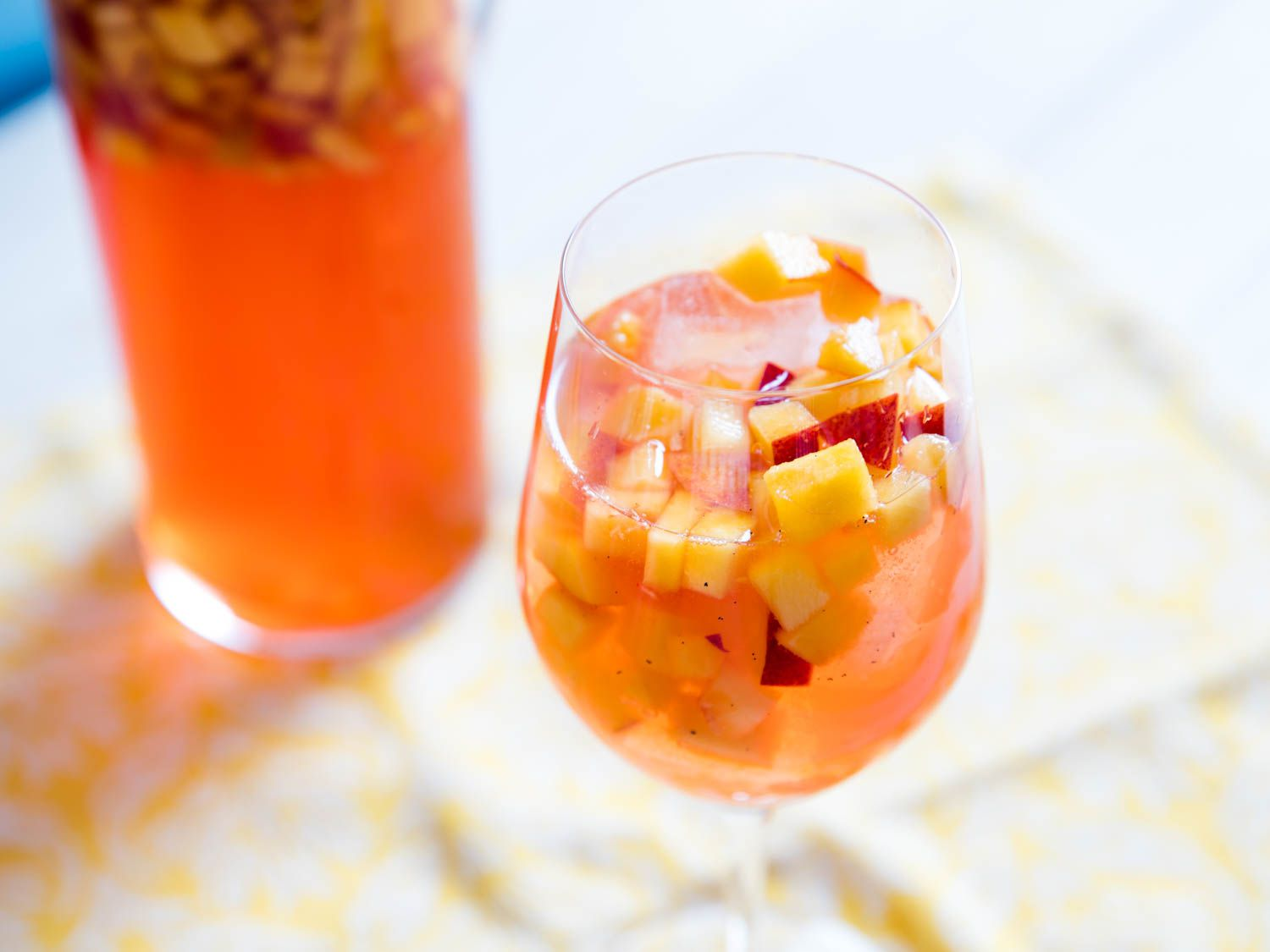 Sparkling Rosé Sangria With Aperol and Peaches