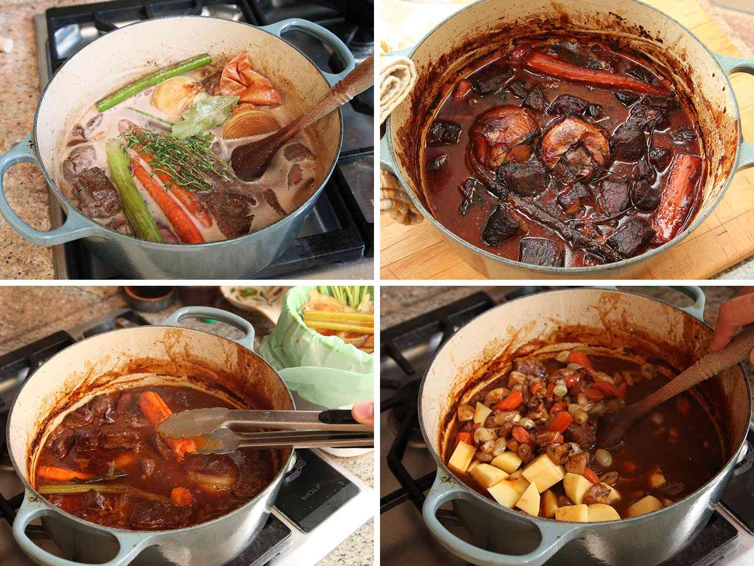 Photo collage showing bringing stew mixture to a simmer, removing aromatic vegetables, and stirring in stew vegetables to Dutch oven for All-American beef stew.
