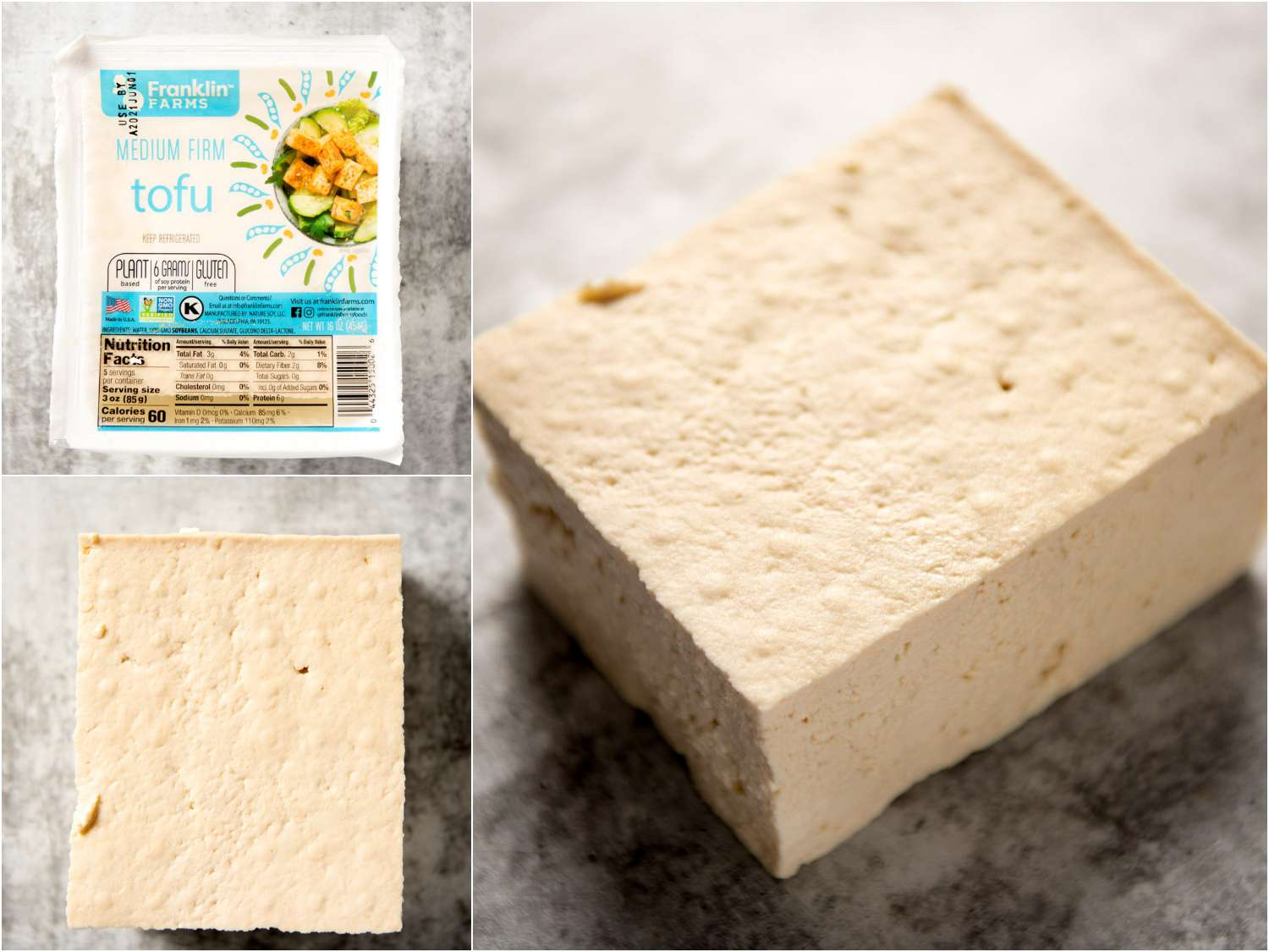 collage: medium firm block tofu in packaging; unpackaged; side angle