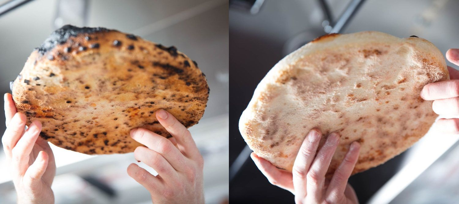 Comparison of undercarriage of pizzas baked in the Breville oven (on the left), and in a conventional oven (on the right).