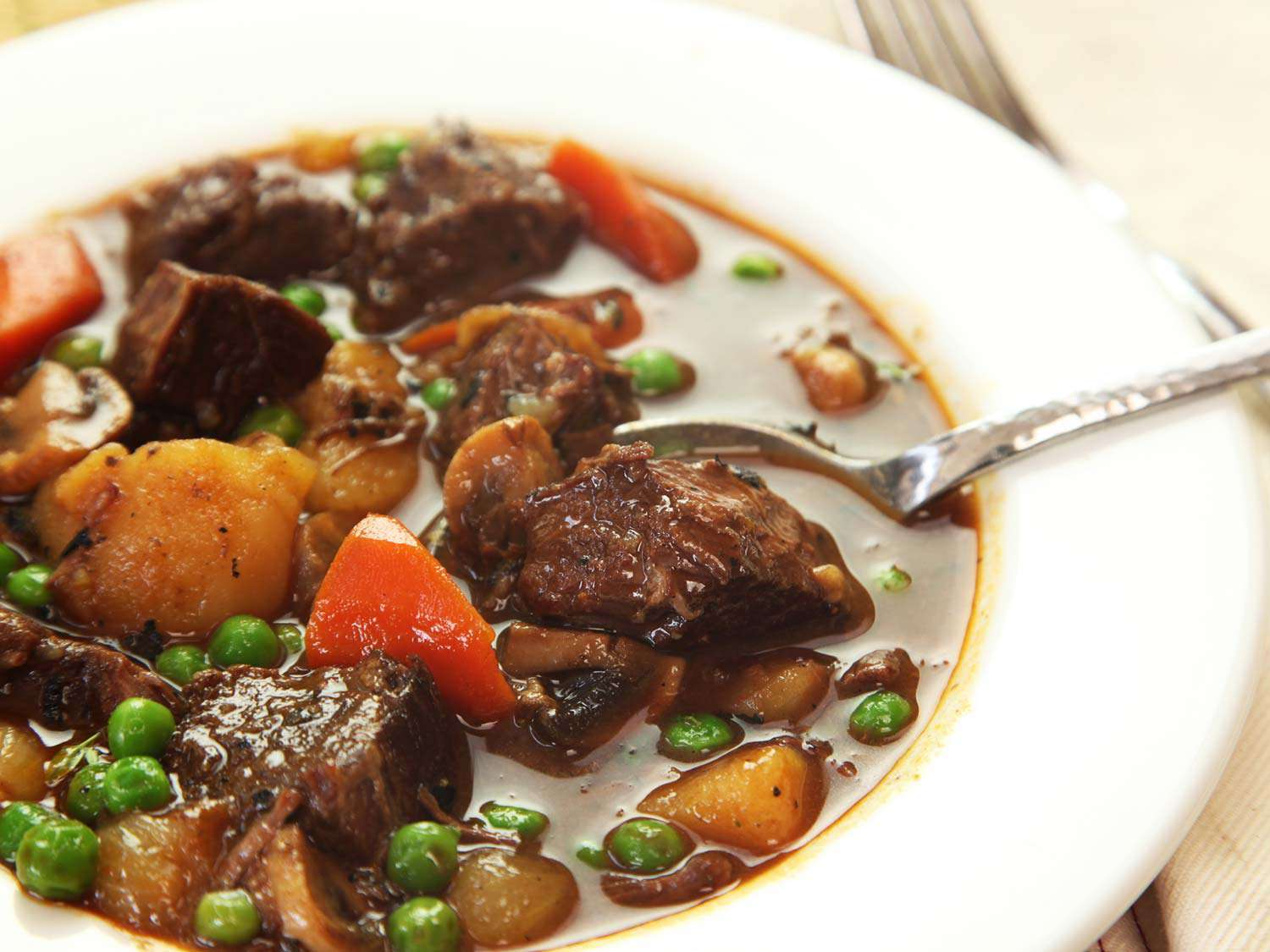 A bowl of Pressure Cooker American Beef Stew.