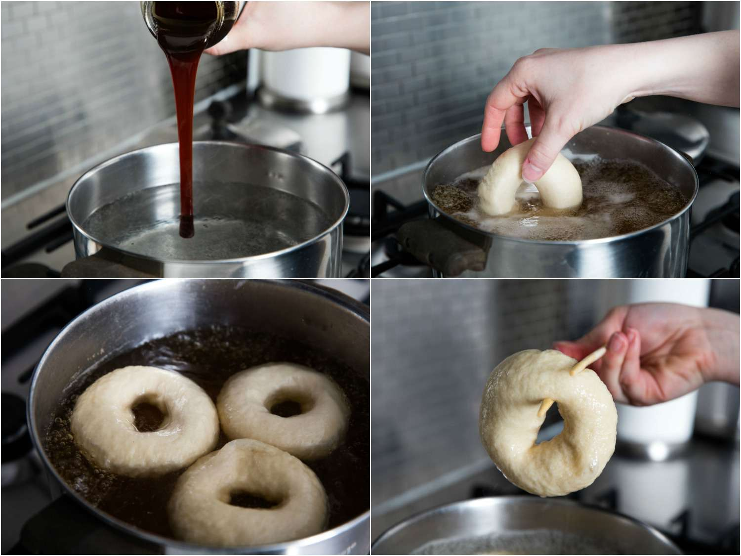 Photo collage showing adding barley malt syrup to pot of oiling water, adding a bagel, boiling three bagels, and removing one bagel from water using chopsticks.