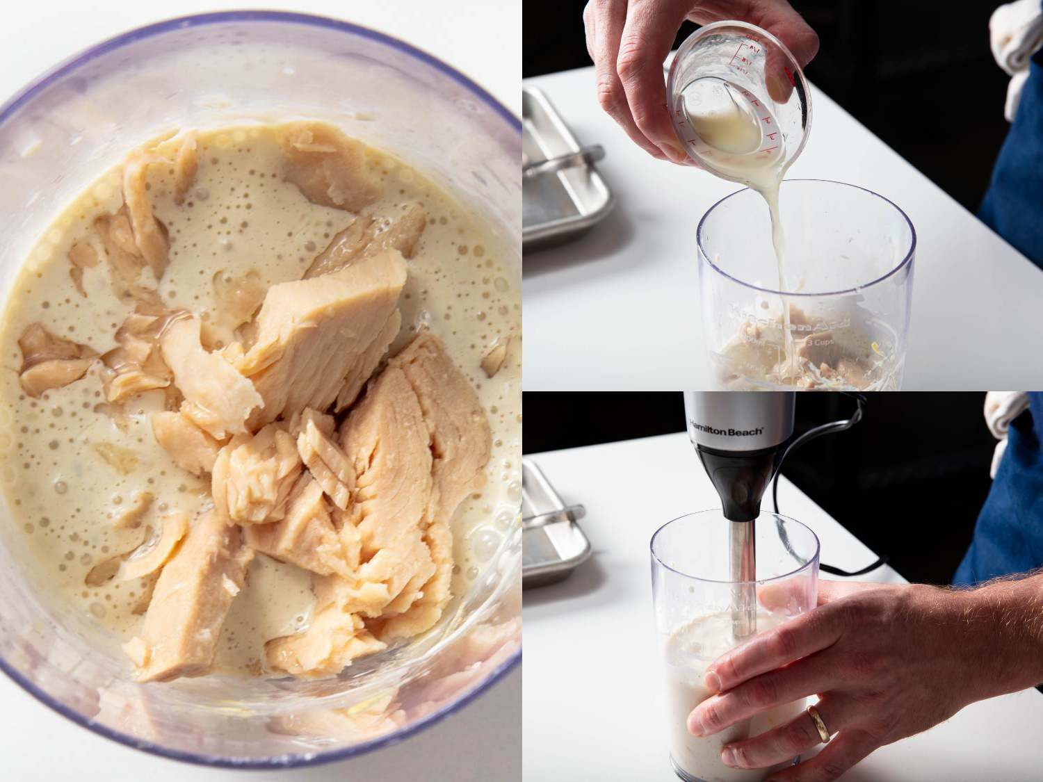 Photo collage of canned tuna and lemon juice being blended into mayonnaise to form tonnato sauce.