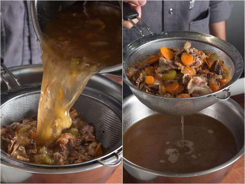 Straining pressure cooker beef stock