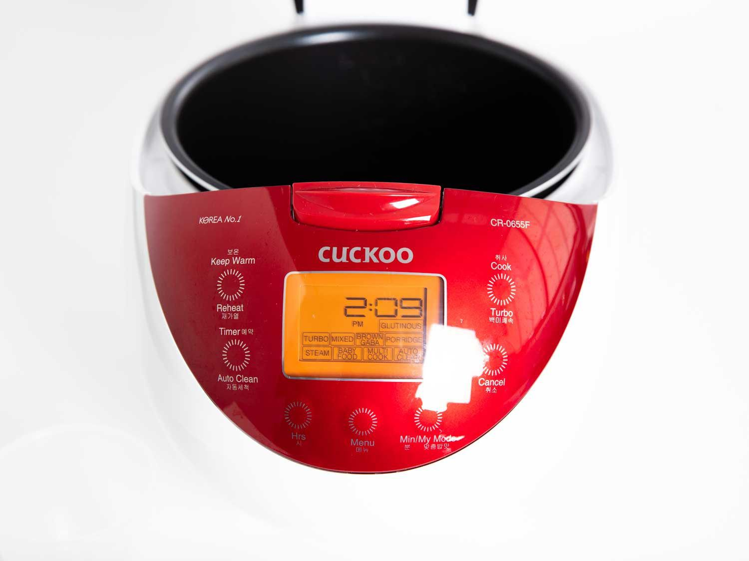 Close up view of control panel on Cuckoo CR 0655f rice cooker