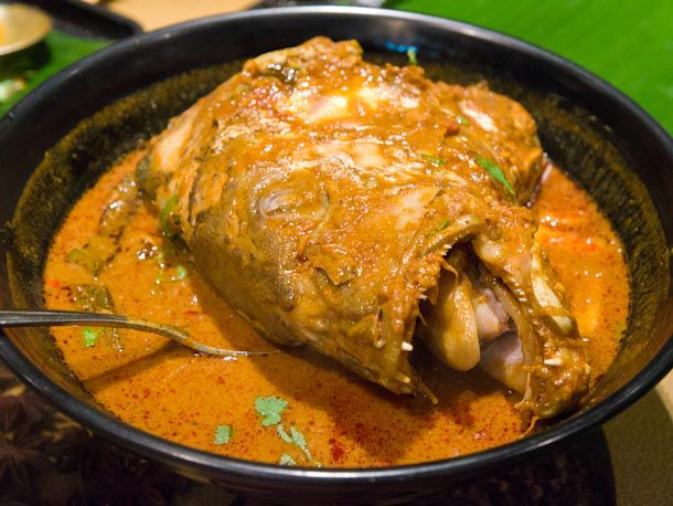 A bowl of fish head curry.