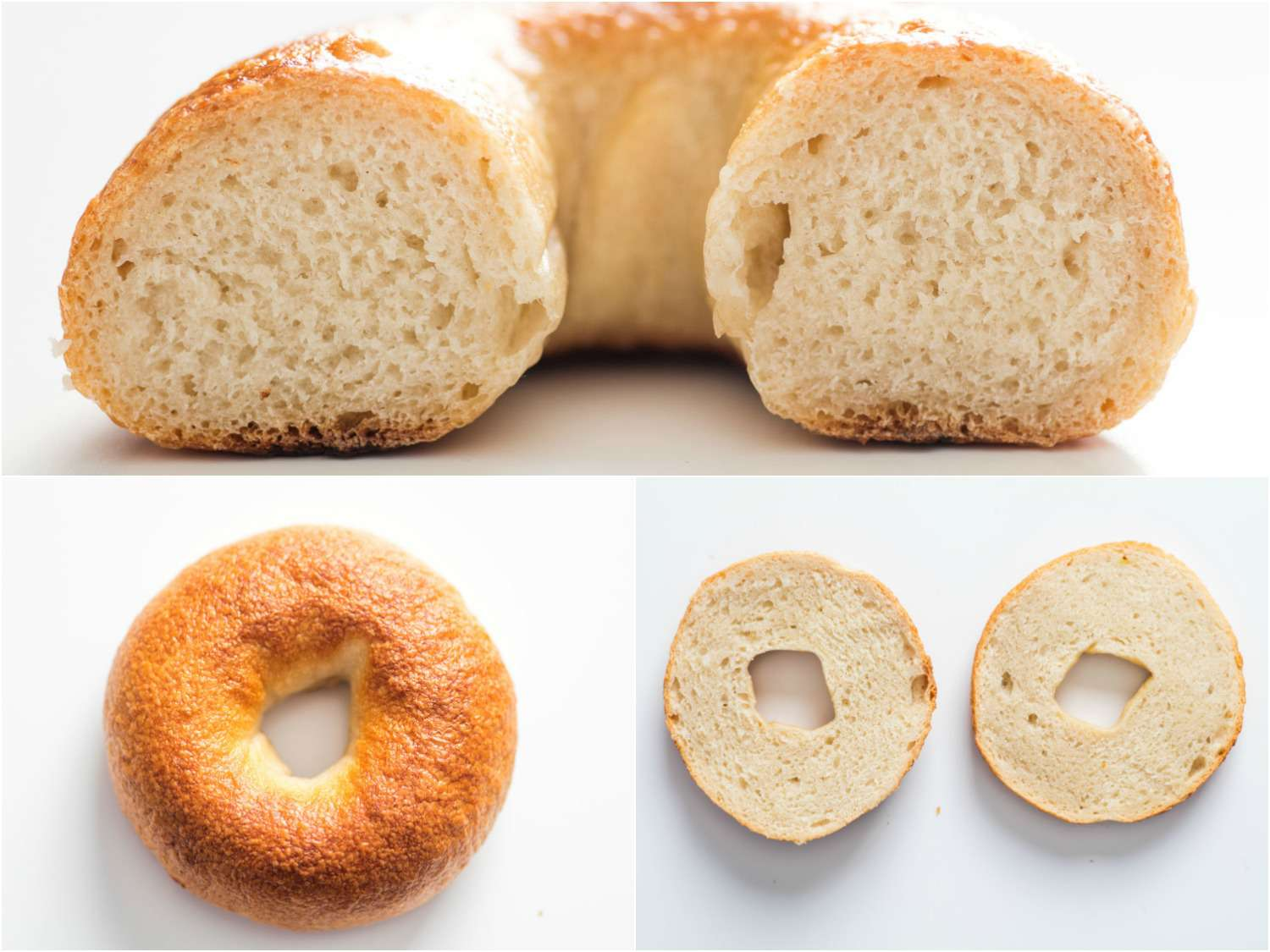 Photo collage showing cross-section of bagels cut horizontally and vertically.