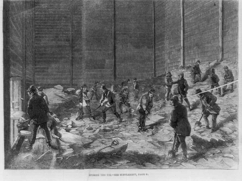 Colonial American ice storage illustration