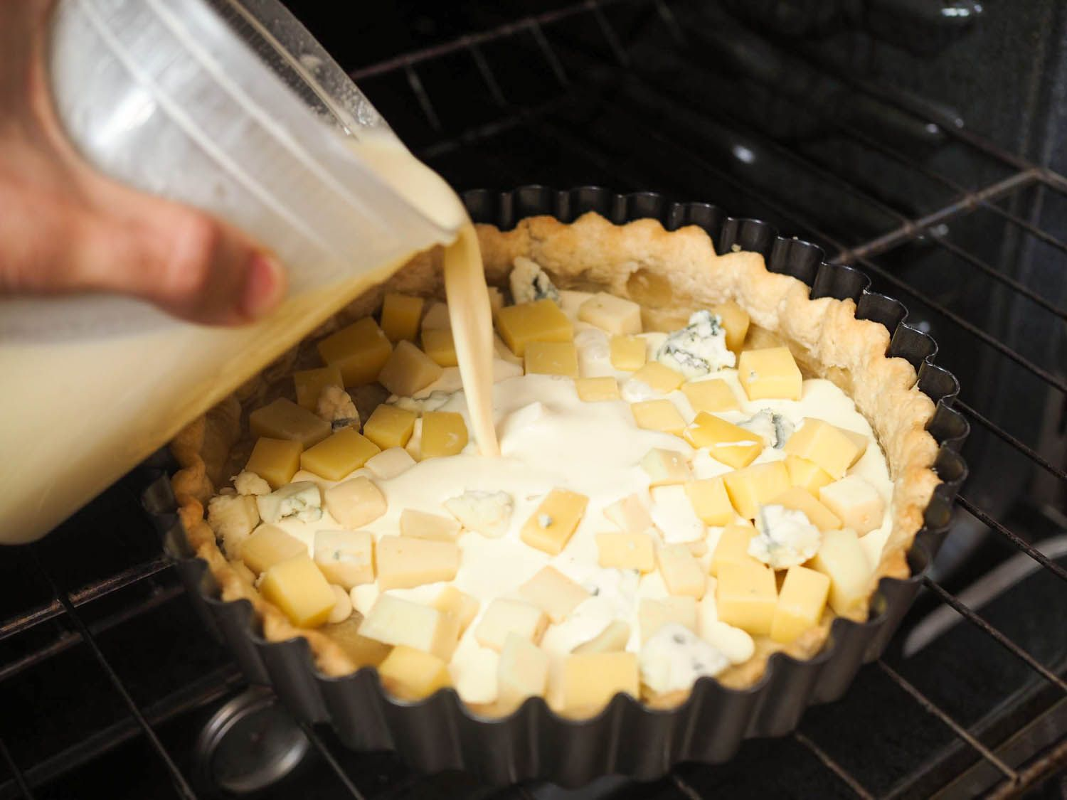 Quiche made from cheese scraps