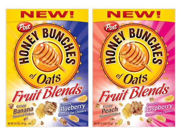 Fruit blend-flavored Honey Bunches of Oats box cover.