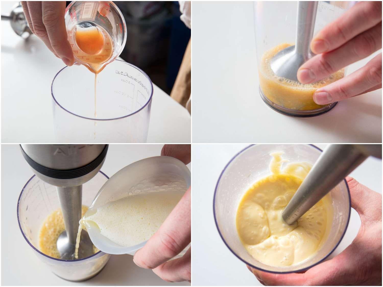 Process shots of blending béarnaise sauce.