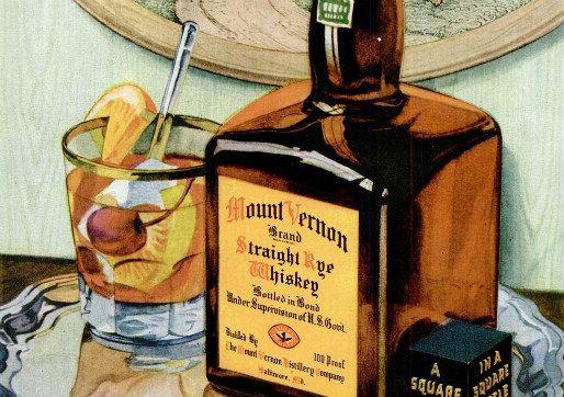Historic ad for Mount Vernon rye whiskey